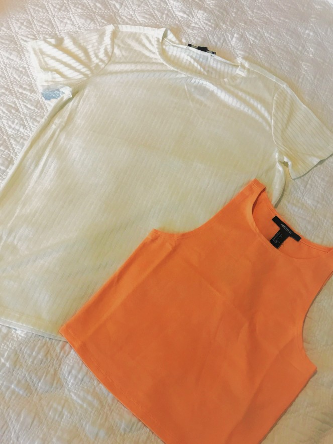 orange and white shirt